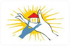 Logo Domu z podtrzymującom dom dodatkową dłonią.